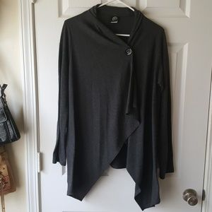 Long sleeve button front assymetric cardigan